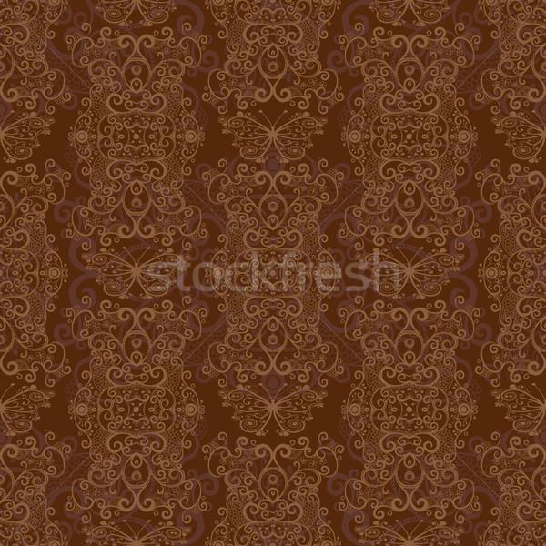 бесшовный темно коричневый шаблон бабочки вектора Сток-фото © OlgaDrozd