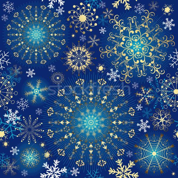 Christmas blue seamless pattern Stock photo © OlgaDrozd