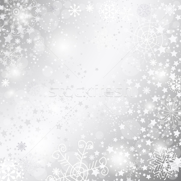 Silvery christmas frame Stock photo © OlgaDrozd