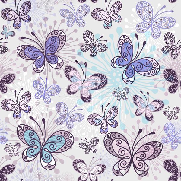 Printemps transparent papillons vecteur eps Photo stock © OlgaDrozd