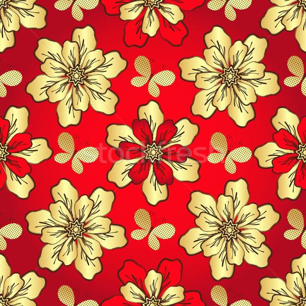 Floral vermelho vintage dourado Foto stock © OlgaDrozd