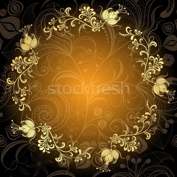 Floral círculo quadro dourado flores vetor Foto stock © OlgaDrozd