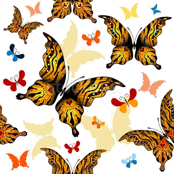 Blanche wallpaper coloré papillons vecteur Photo stock © OlgaDrozd