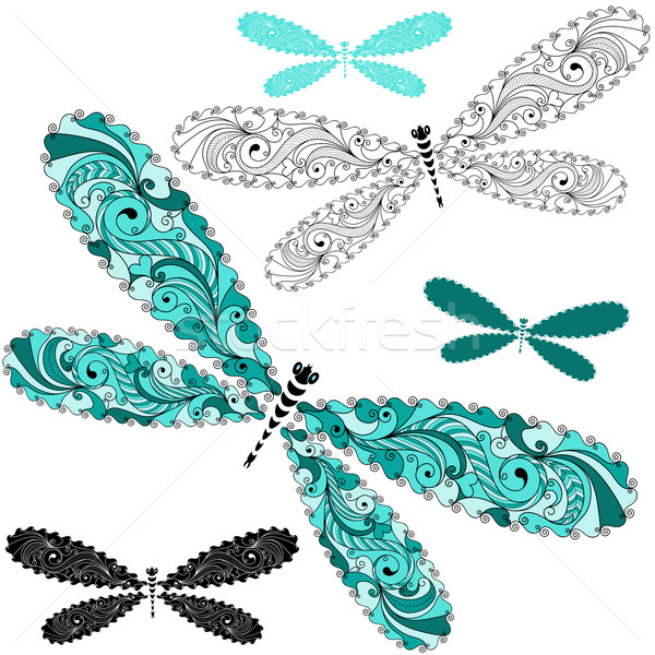 Set lace vintage dragonflies Stock photo © OlgaDrozd