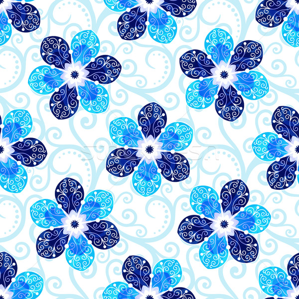 白 フローラル パターン 青 ヴィンテージ ストックフォト © OlgaDrozd