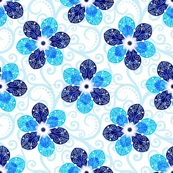 Herhalen witte patroon Blauw vintage Stockfoto © OlgaDrozd