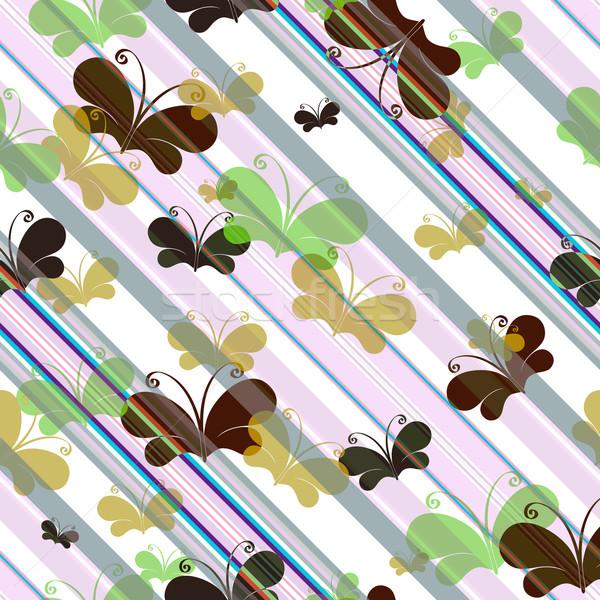 Silhouettes papillons diagonal lignes Photo stock © OlgaDrozd