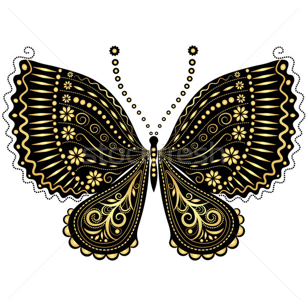 Fantasy vintage black-gold butterfly Stock photo © OlgaDrozd