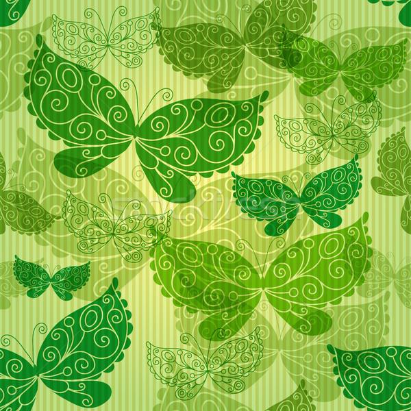 Printemps vert transparent papillons Photo stock © OlgaDrozd