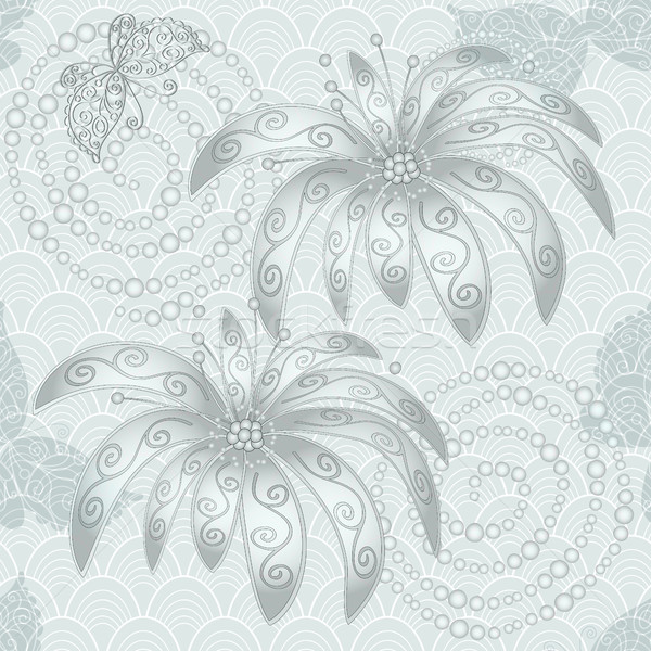 Vintage silvery seamless pattern Stock photo © OlgaDrozd