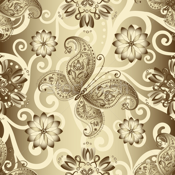Seamless silvery floral pattern Stock photo © OlgaDrozd