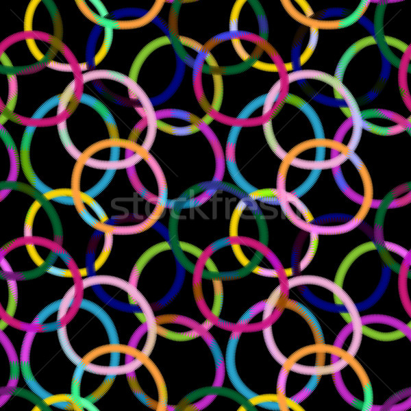 Noir modèle coloré anneaux Photo stock © OlgaDrozd