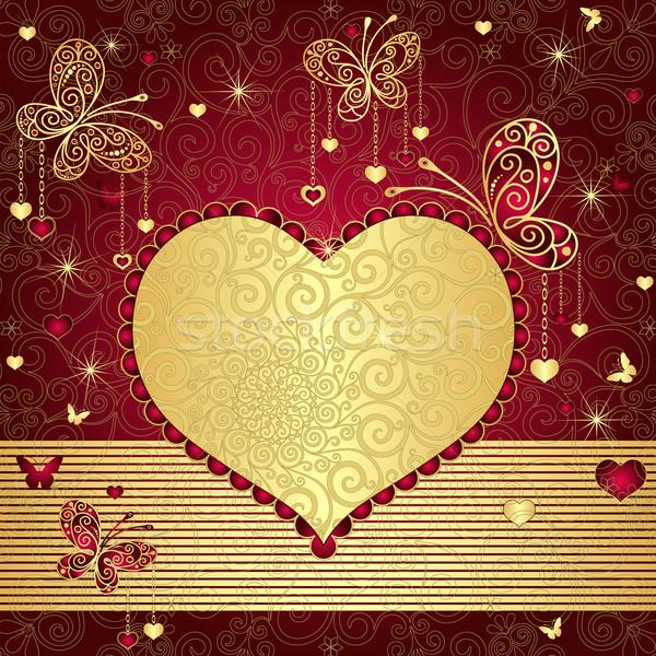 Goud Rood Valentijn Frame Vintage Hart Vector