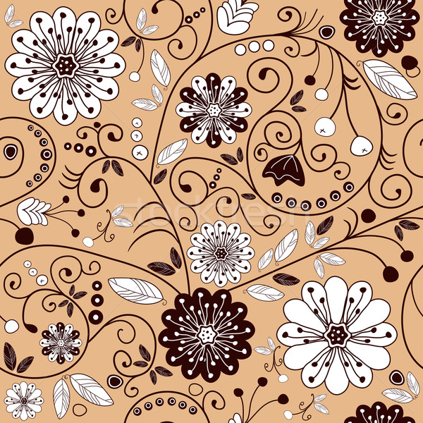 Photo stock: Floral · rose · brun · fleurs · blanches · vecteur