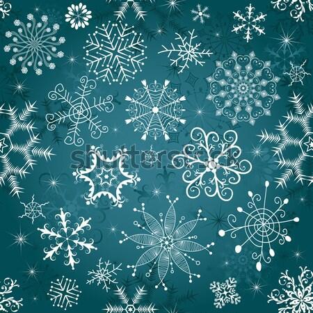 Noël modèle sombre bleu flocons de neige Photo stock © OlgaDrozd