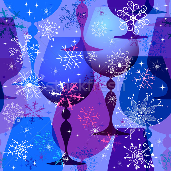 Stock photo: Christmas blue-violet seamless pattern