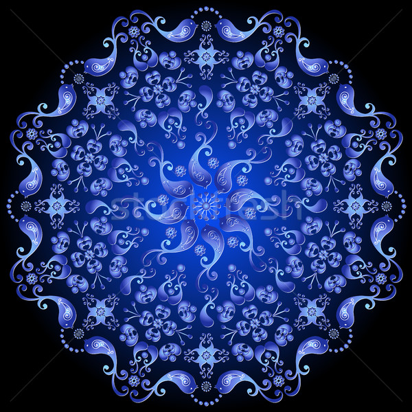 Dark blue floral circle pattern Stock photo © OlgaDrozd