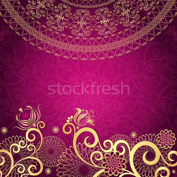 Vintage gold-purple frame Stock photo © OlgaDrozd