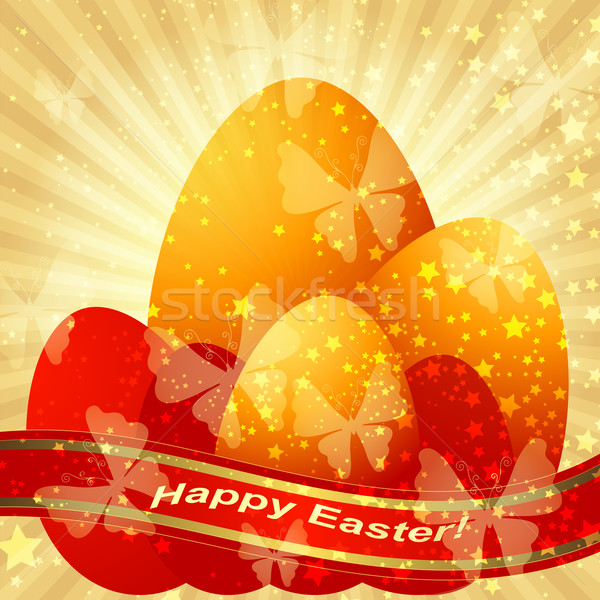 Easter greeting gold card  Stock photo © OlgaDrozd