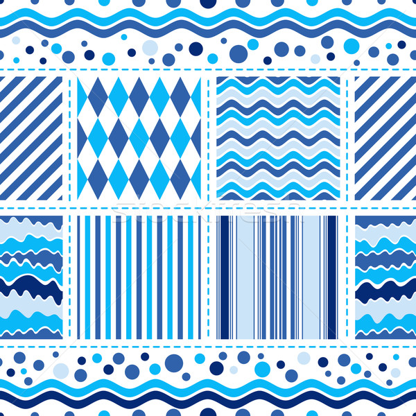 Seamless white-blue wave pattern Stock photo © OlgaDrozd