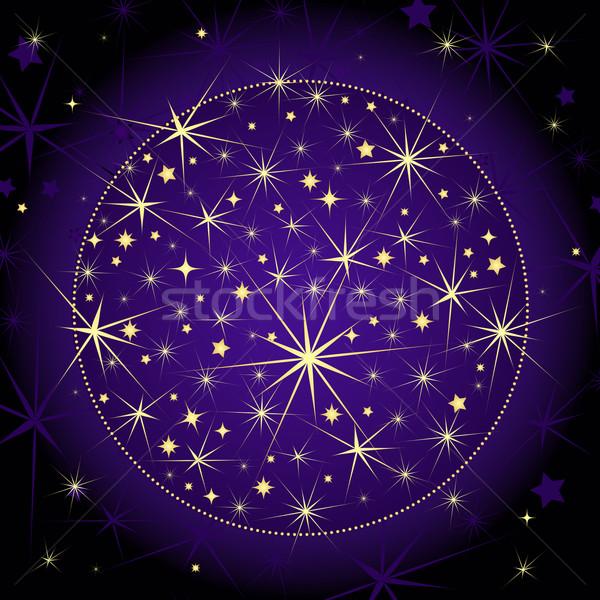 Noël sombre violette balle or étoiles Photo stock © OlgaDrozd
