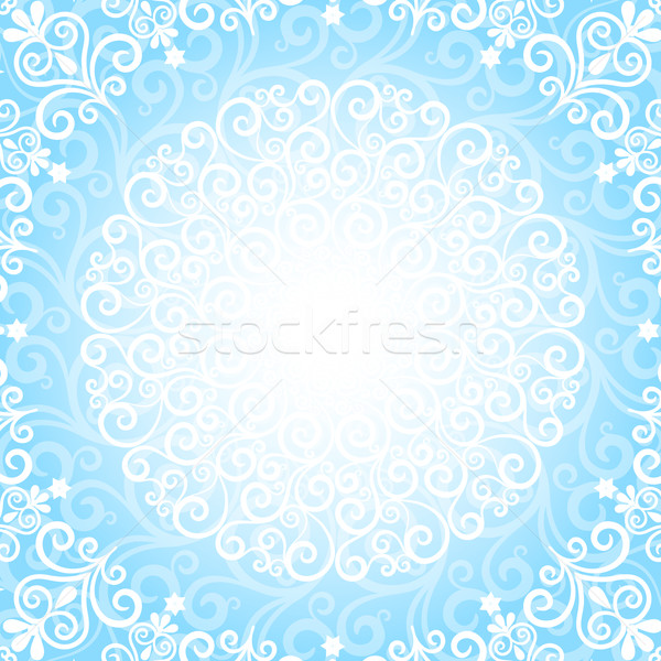 Azul natal quadro floco de neve vetor Foto stock © OlgaDrozd