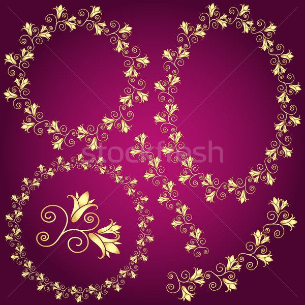 Collection golden gradient floral frames Stock photo © OlgaDrozd