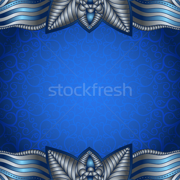 Blue frame with vintage silvery pattern  Stock photo © OlgaDrozd