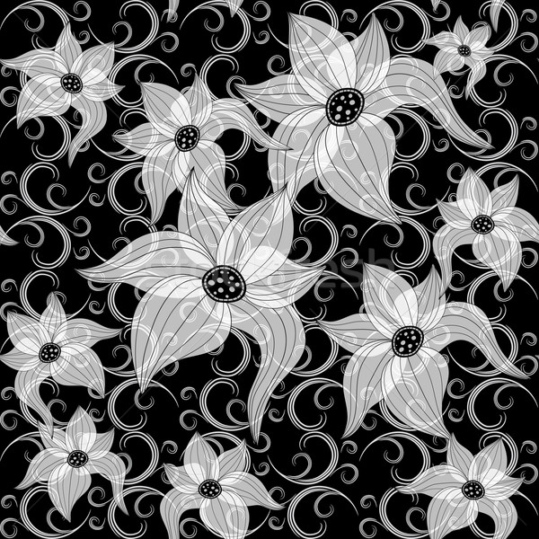 Black and white effortless floral pattern Stock photo © OlgaDrozd