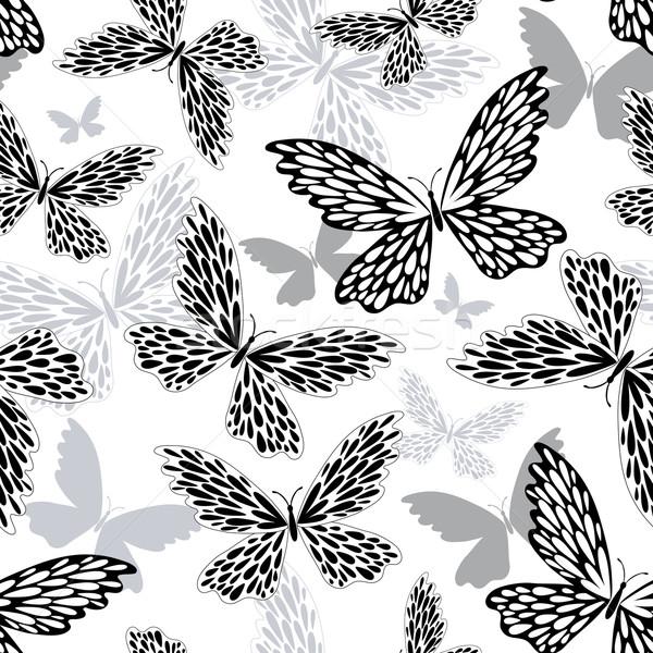 Patrón siluetas mariposas vector mariposa Foto stock © OlgaDrozd