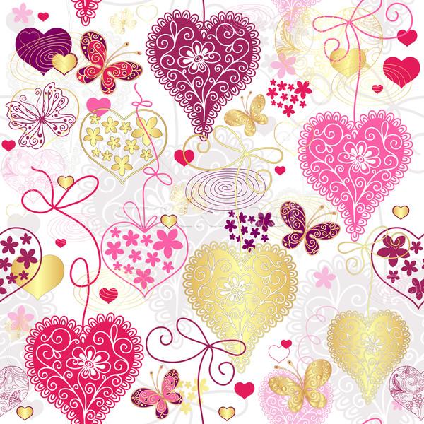 Seamless motley valentine pattern Stock photo © OlgaDrozd