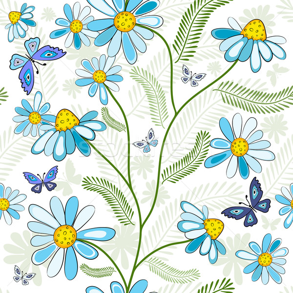 белый цветочный шаблон цветы бабочки Сток-фото © OlgaDrozd