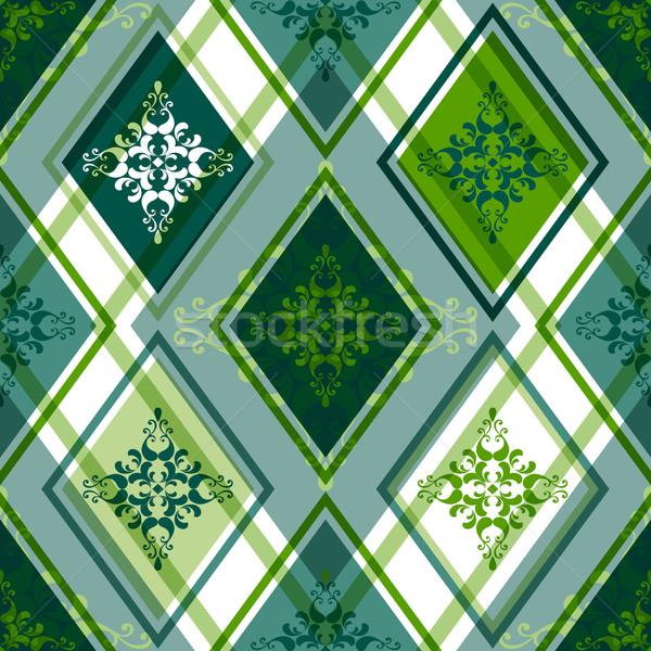 Vert modèle blanche floral ornement Photo stock © OlgaDrozd