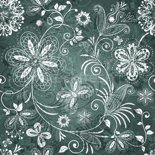 Green-white floral pattern Stock photo © OlgaDrozd