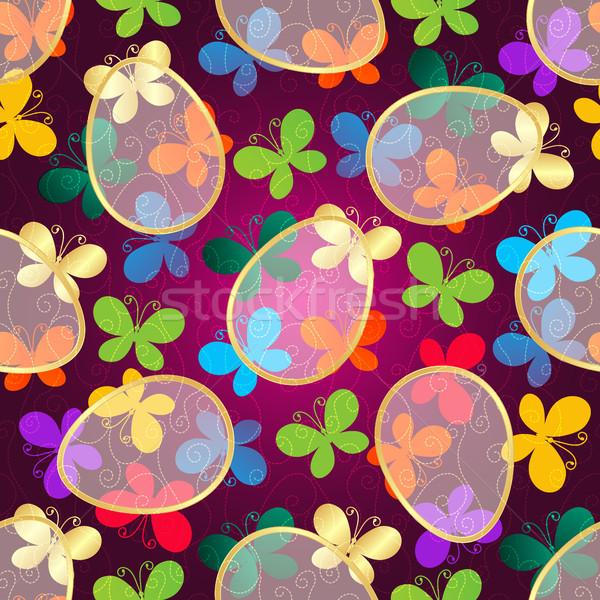 Húsvét sötét lila végtelen minta színes pillangók Stock fotó © OlgaDrozd