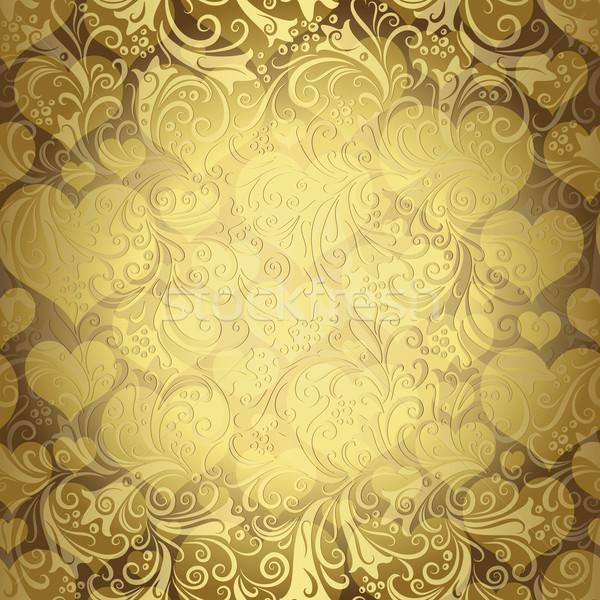 Gold seamless valentine pattern  Stock photo © OlgaDrozd