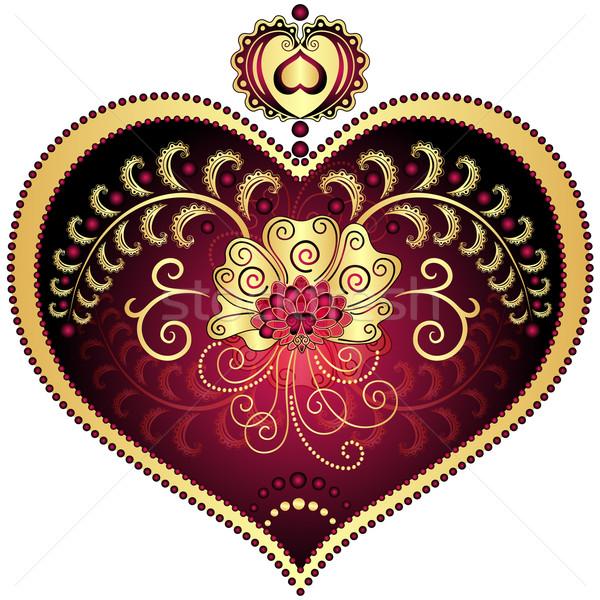 Rouge or vintage coeur romantique Photo stock © OlgaDrozd