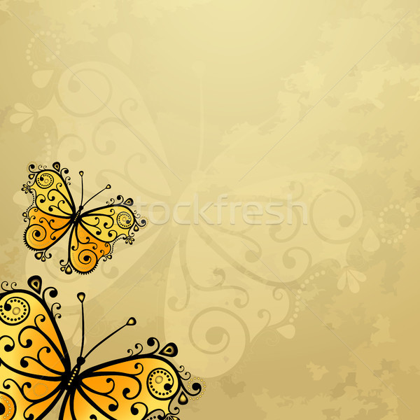 Old grunge paper with butterflies Stock photo © OlgaDrozd