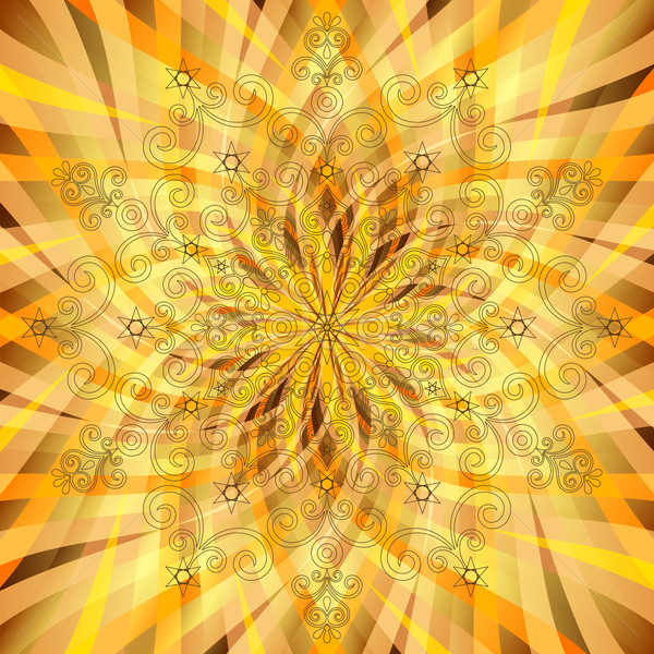 Vintage orange-gold pattern with translucent rays Stock photo © OlgaDrozd