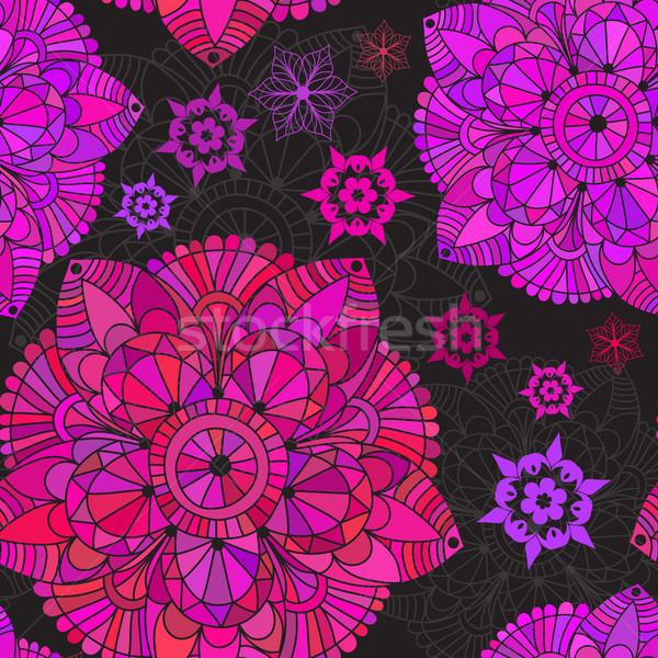 Vintage sin costura negro patrón colorido Foto stock © OlgaDrozd