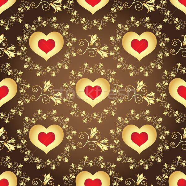 Valentine kahverengi model altın çiçekler Stok fotoğraf © OlgaDrozd