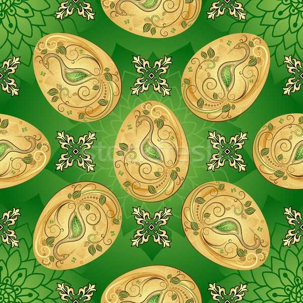 Easter seamless green pattern with golden eggs  Stock photo © OlgaDrozd
