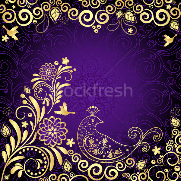 Vintage quadro violeta ouro flores estilizado Foto stock © OlgaDrozd