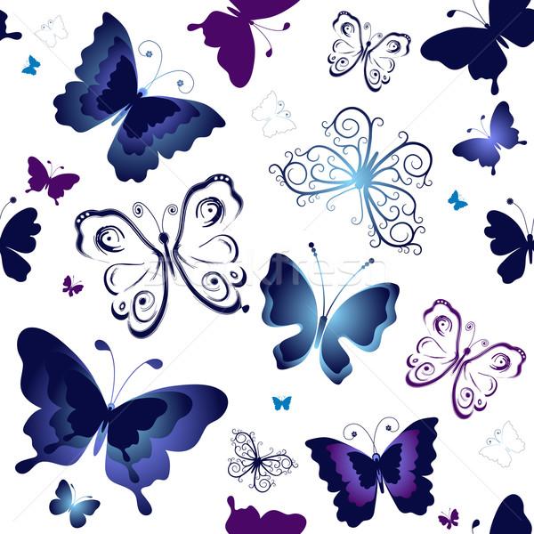 Blanche modèle bleu violette papillons Photo stock © OlgaDrozd