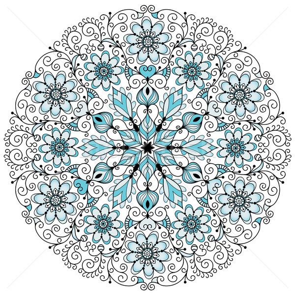 Floral lacy vintage round frame Stock photo © OlgaDrozd