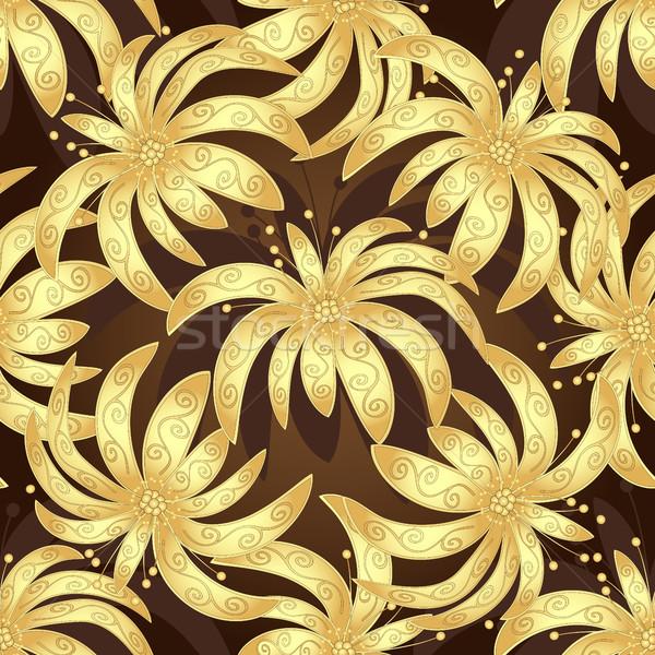Sem costura marrom vintage padrão dourado lírios Foto stock © OlgaDrozd
