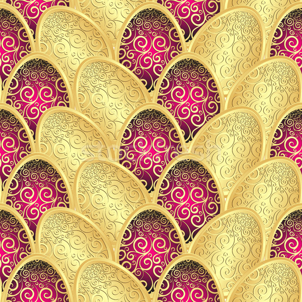 Seamless Easter pattern with golden eggs Stock photo © OlgaDrozd