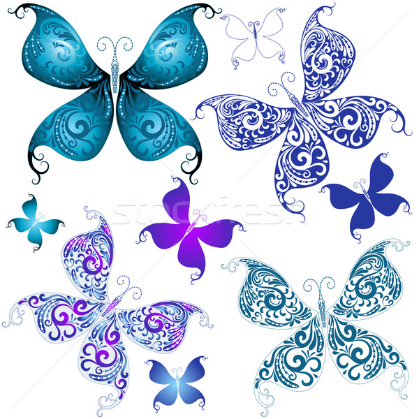 Set vintage butterflies Stock photo © OlgaDrozd