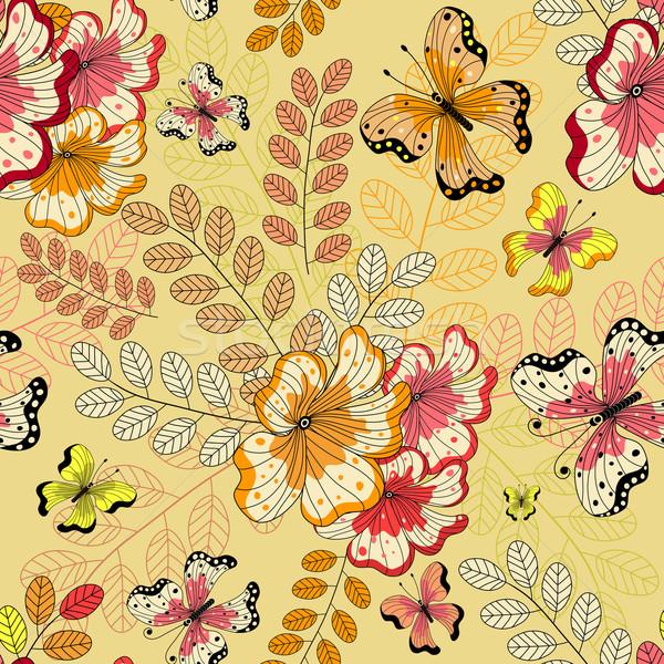 Yellow seamless floral pattern  Stock photo © OlgaDrozd