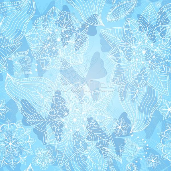 Christmas sneeuwvlokken vlinders vector Stockfoto © OlgaDrozd